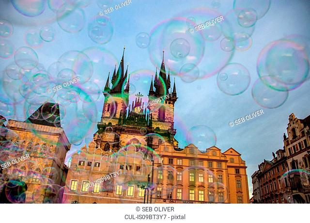 Bubbles and church of Our Lady before Týn, Old Town Square, Prague, Hlavni mesto Praha, Czech Republic