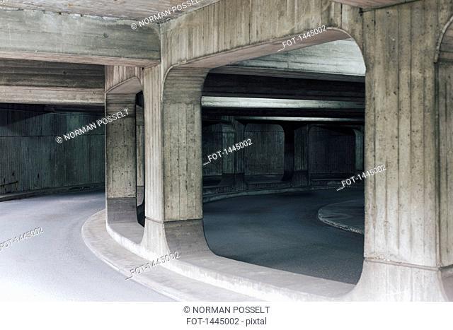 Road and columns under bridge