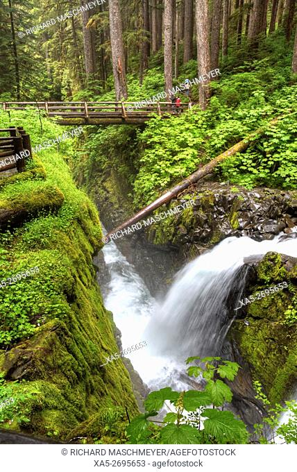 Sol Duc Falls, Olympic National Park, UNESCO World Heritage Site, Washington State, USA