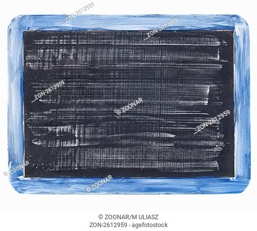small grunge slate blackboard with white chalk texture,, rough blue wooden frame, isolated on white