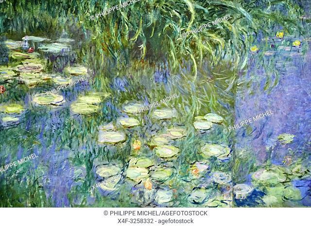 France, Paris, les Tuileries, museum of Orangerie, Nymphéas by Claude Monet