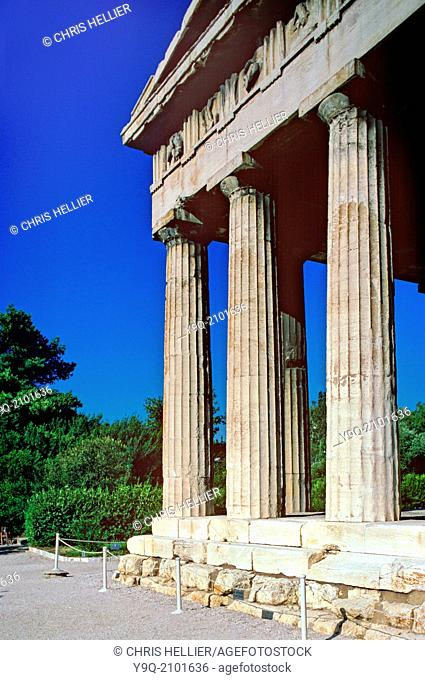 Greek Doric Temple of Hephaestus in Roman Agora Athens Greece