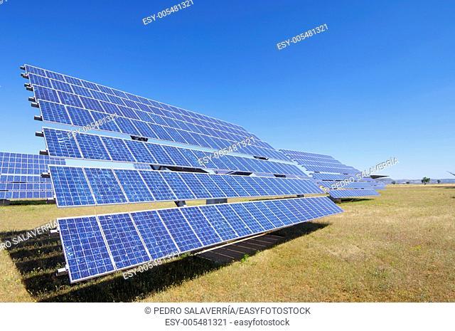 group of photovoltaic solar panels to produce renewable electrical energy in Sadaba, Saragossa province, Aragon, Spain