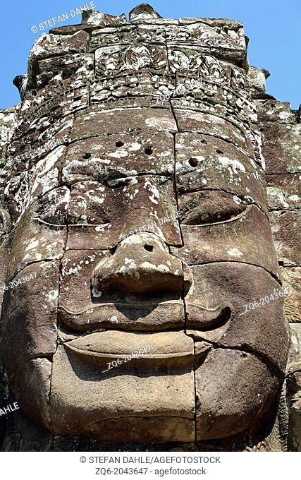Giant Stone Faces of Bayon on the Temple Compund of Angkor, Cambodia