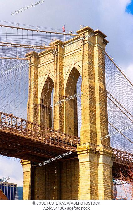Brooklyn Bridge. New York City. March 2006. USA