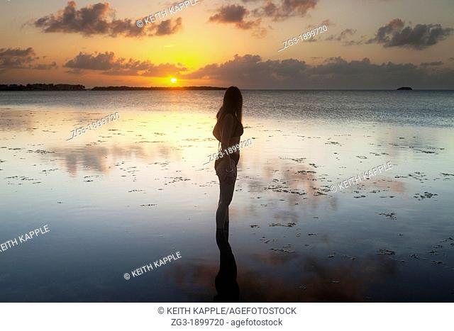 Woman on the coastline, silhouette against the sunset sky, Key Largo, Florida, USA
