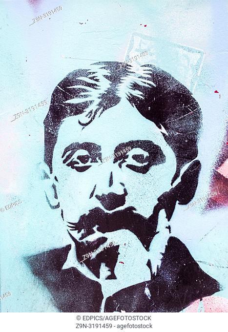 stencil portrait of french writer marcel proust, paris, ile de france, france