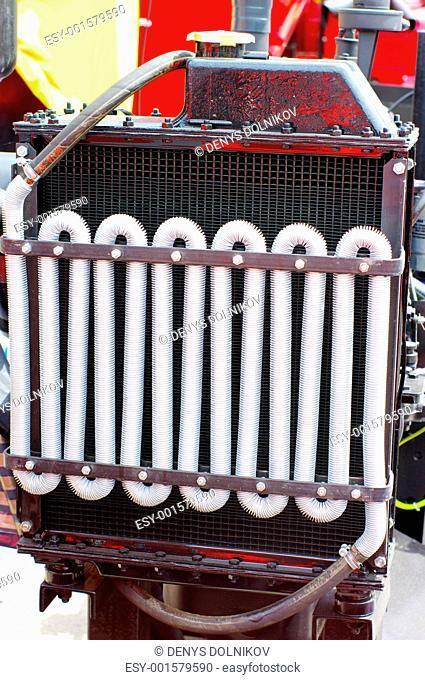 Closeup of farm tractor radiator fins