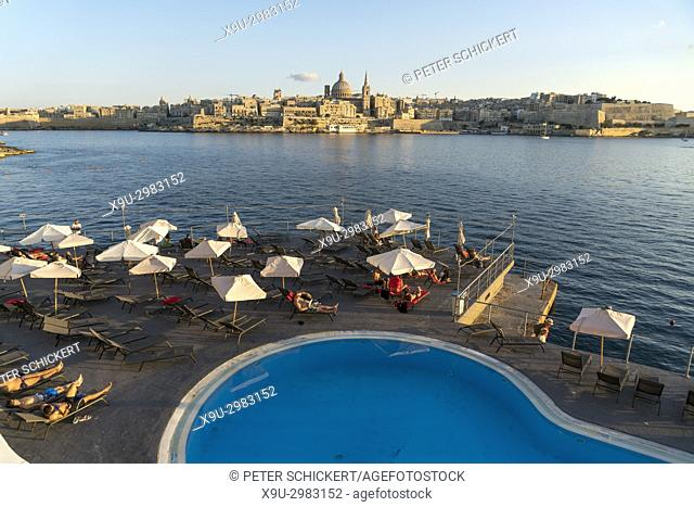 Hotel Fortina Pool and Valletta Cityscape, Malta