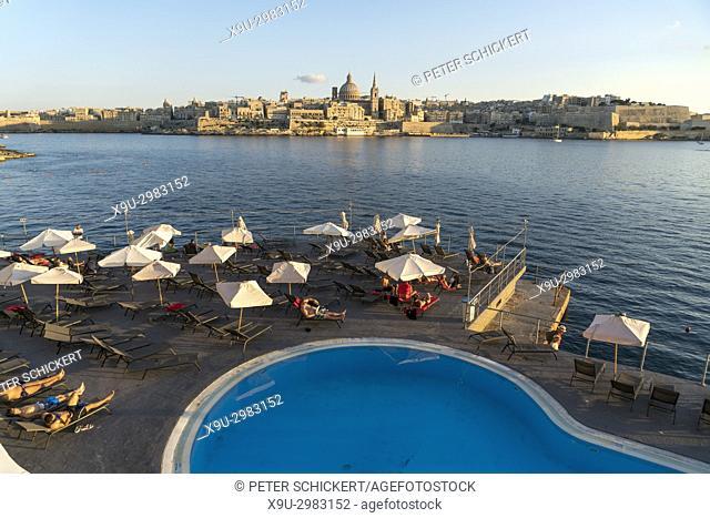 Hotel Fortina Pool and Valletta Cityscape, Malta