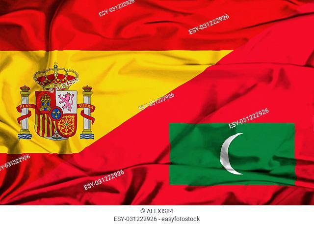 Waving flag of Maldives and Spain