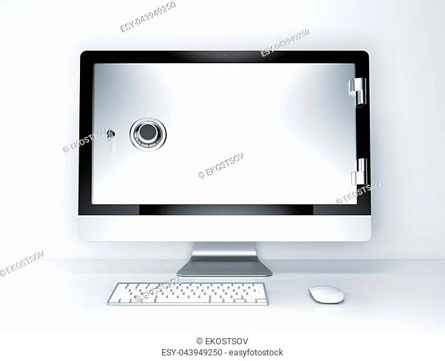 Internet security concept. Monitor screen with safe door on a white background. 3d rendering