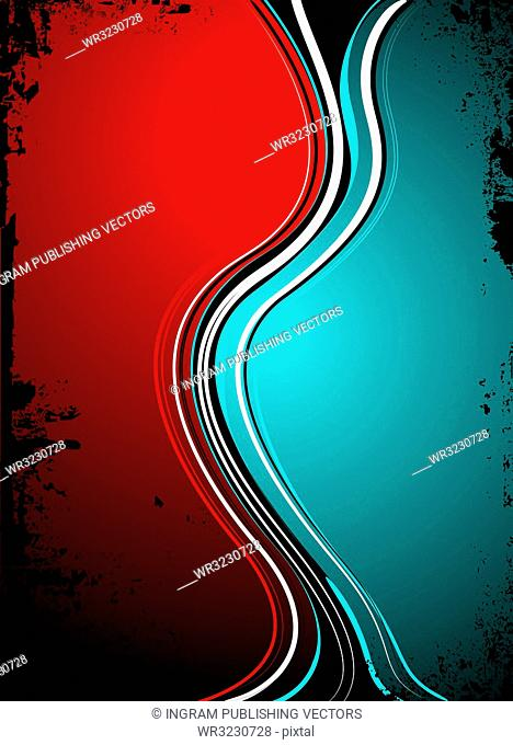 red blue split background image with grunge edges in black ink