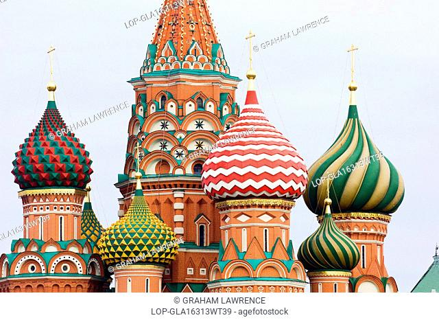 Russia, Moscow Oblast, Moscow. A view of St Basils Cathedral in Red Square