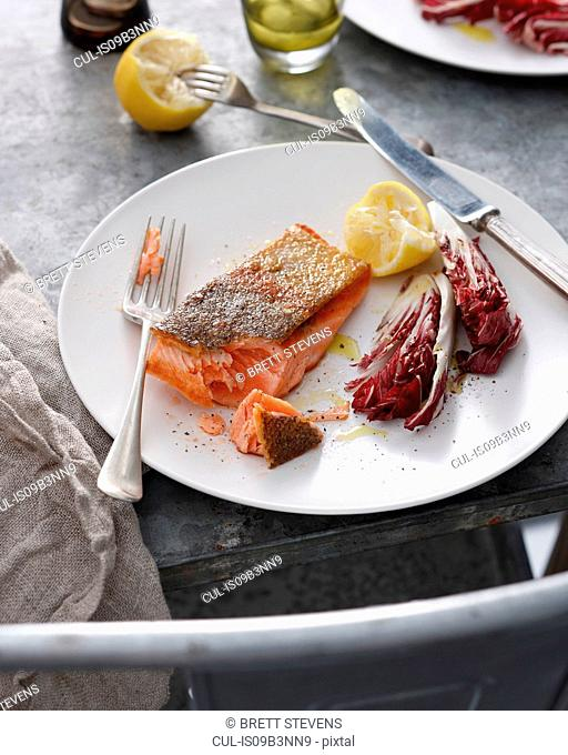 Crispy skin trout with lemon and radicchio on plate, close-up