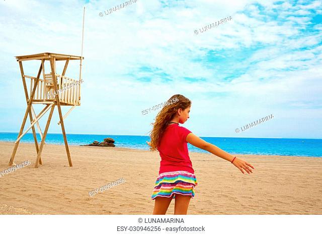 Almeria Mojacar beach girl in Mediterranean sea of Spain