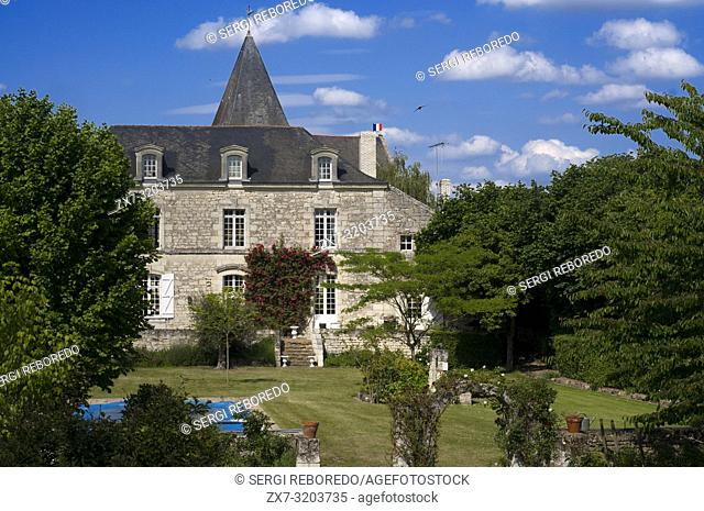 One of the multiple private mansions built like a castle. Bike ride from Fontevraud to Saumur, Loire Valley, France. Twenty kilometers of bicycle from...