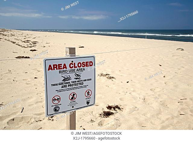 Truro, Massachusetts - Part of the Head of the Meadow Beach in Cape Cod National Seashore, closed to provide protection for rare nesting birds including the...