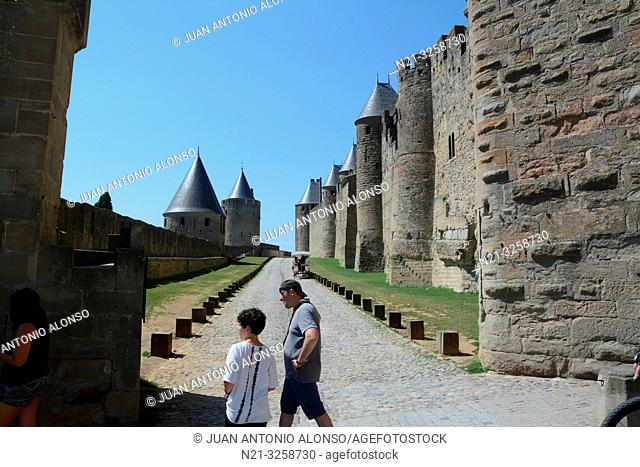 Walls of the fortified city of Carcassonne. Languedoc-Roussillon, France