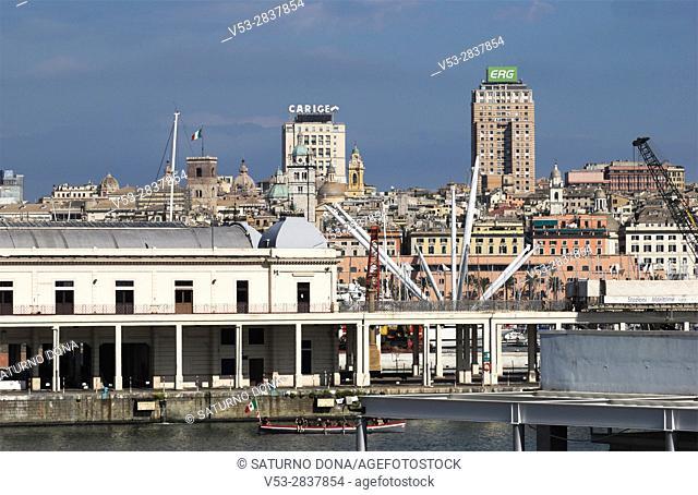 Harbour and Stazione Marittima Terminal in Genoa - Italy