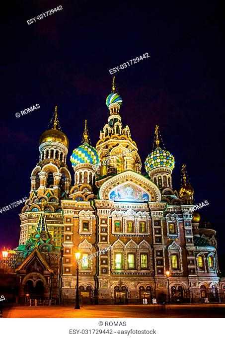 Church on Spilled Blood in Saint Petersburg, Russia. One of the most beautiful churches in Russia is among main tourist attractions of Saint-Petersburg
