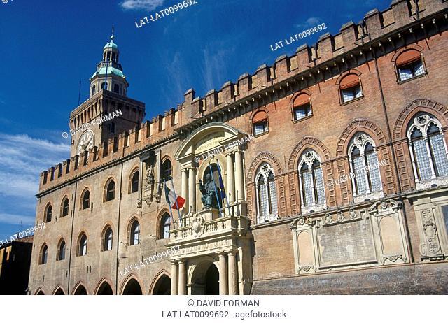 Palazzo del Re Enzo. Piazza Maggiore. Red brick palace. Clock tower