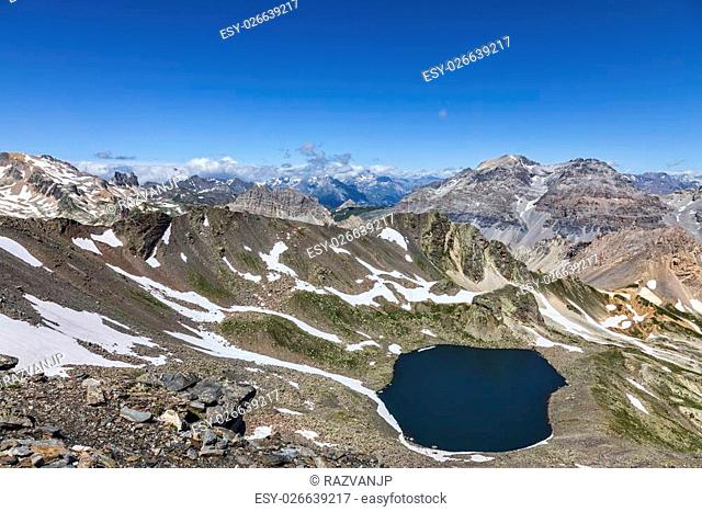 Image of the Lac Blanc (White Lake) located at 2699 m on Vallee de la Claree (Claree Valley) in Hautes Alpes department in France