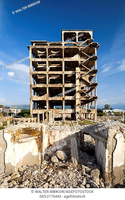 Albania, Vlora, ruins of Communist-era factory