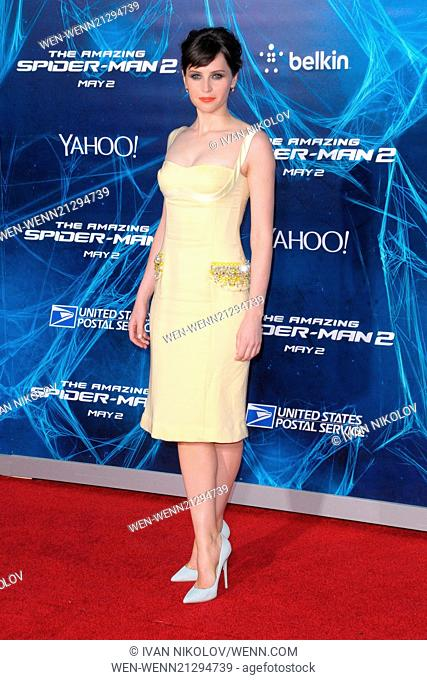 New York Premiere of 'The Amazing Spider-Man 2' at the Ziegfeld Theater - Red Carpet Arrivals Featuring: Felicity Jones Where: New York City, New York