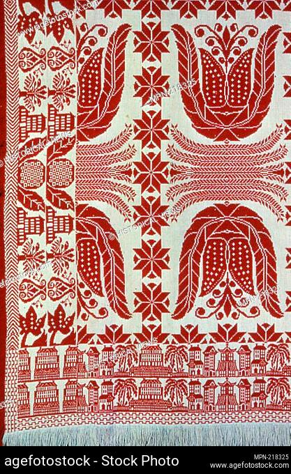 Coverlet - c. 1845 - United States - Origin: United States, Date: 1835-1855, Medium: Cotton and wool, plain weave with plain interlacings of secondary binding...