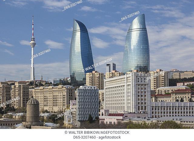 Azerbaijan, Baku, high angle view of Baku Television Tower and Flame Towers