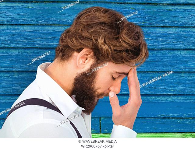 hipster thinking with blue wood background