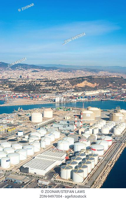 Top view above Zona Franca - Port, the industrial harbor of Barcelona. This industrial area, included the airport, is one of the most important commercial...