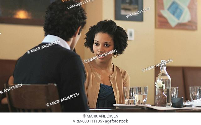 couple on a dinner date having an argument