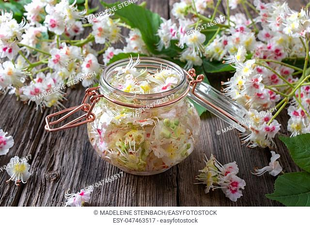 A bottle filled with horse chestnut blossoms and alcohol, to prepare homemade tincture