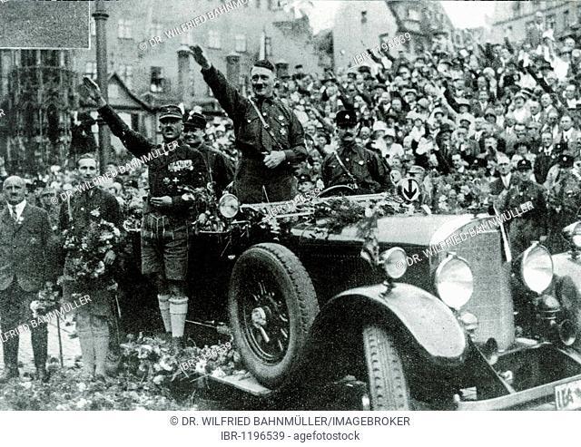 Parade with Adolf Hitler, left of Hitler Rudolf Hess, Hauptmann von Pfeffer and Julius Streicher, Nuremberg, Bavaria, German Reich, Europe