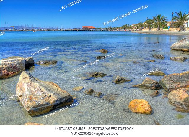 HDR of Los Alcazares beach and the Mar Menor, Murcia, Costa Calida, South Eastern Spain