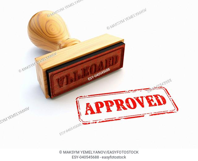 Stamp Approved isolated on white. Agreement or approval concept. 3d illustration