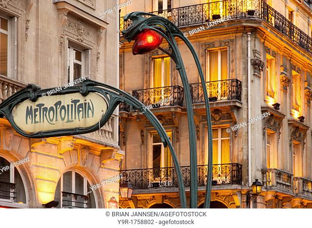 Evening at the Metro stop Saint Michel in the Latin Quarter, Paris France