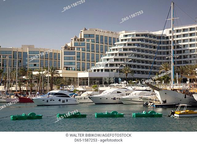 Israel, The Negev, Eilat, resort hotels along lagoon