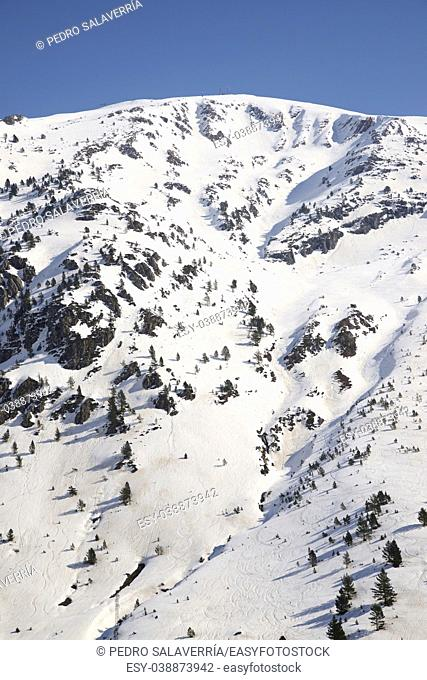 Snowy peak in Canfranc Valley, Aragon, Huesca, Spain