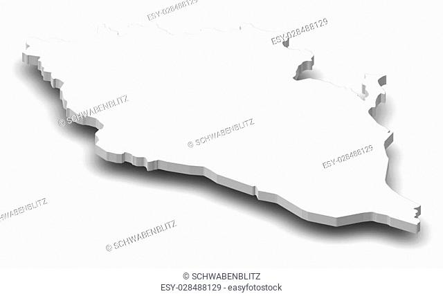 Map of Pahang Darul Makmur, a province of Malaysia, as a gray piece with shadow