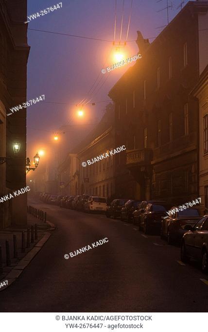 Street in fog, Zagreb, Croatia