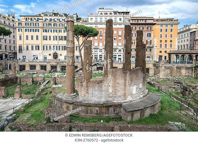 Rome, Italy- Largo di Torre Argentina located in central Rome. This archeological area is known today for the hoards of wild cats that live in its ruins