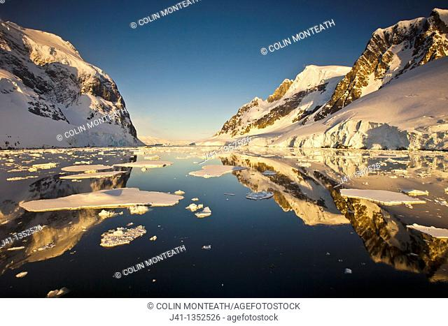 Lemaire Channel reflection at sunset, Antarctic Peninsula