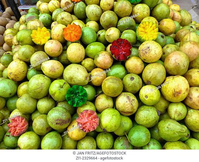 heap of guavas at the market of Diu, Gujarat, India