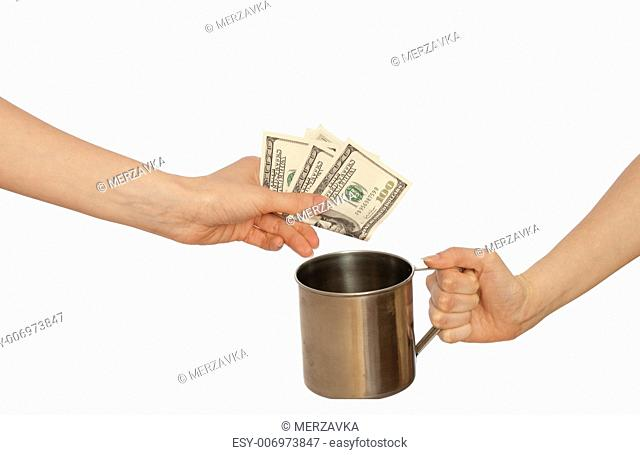 beggar woman with a metal cup asking the money