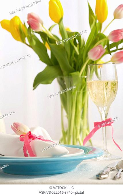 Place setting for Easter dinner