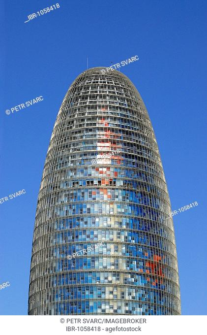 Modern Torre Agbar, tower, skyscraper, by architect Jean Nouvel, at Plaça de les Glories Catalanes in Barcelona, Catalonia, Spain, Europe