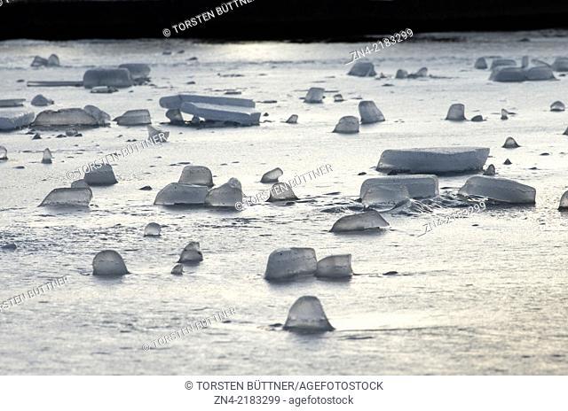 Ice Blocks on an Artificial Lake in Botanica Public Park in Bad Schallerbach. Austria